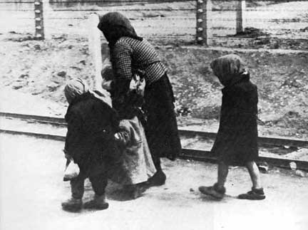 Famous photo of woman and children walking to the gas chamber at Auschwitz-Birkenau