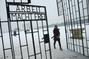 Arbeit Macht Frei gate at Sachsenhausen  Photo credit: Getty Images