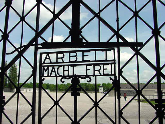 The gate into the Dachau camp, which was a Class 1 camp, not a death camp