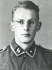 Oskar Groening as a young man who worked as a bookkeeper at Auschwitz-Birkenau
