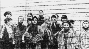 Children at Auschwitz-Birkenau death camp who were liberated by Soviet soldiers
