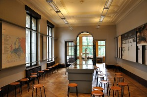 The former dining room in the Wannsee house is used today for meetings to discuss the Holocaust