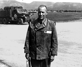 Lt. Jack Taylor poses at Mauthausen on the  day the camp was liberated