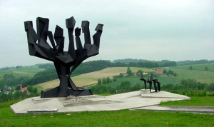 The Memorial to the Jews who were killed at Mauthausen is in the most prominent spot