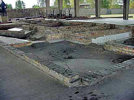 Remains of the gas chamber at Sachsenhausen which had a floor drain