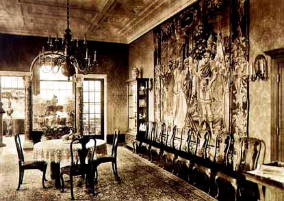 The dining room, as it looked in 1916 when the Wannsee house was built. This is the room where the Wannsee conference was held in 1942