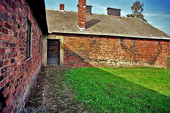 Stains on the wall of a disinfection building  at Auschwitz-Birkenau