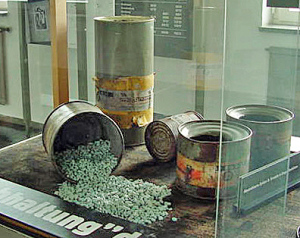 Zyklon-B in a display case at the Mauthausen memorial site