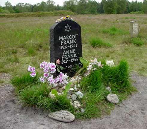 Memorial stone for Margot Frank and Anne Franck at Bergen-Belsen