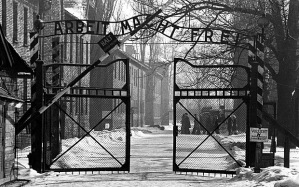 This photo of the gate into the Auschwitz main camp accompanies the news story