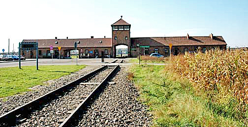 Entrance into the famous Gate of Death at Auschwitz-Birkenau