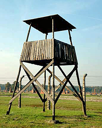 This is allegedly a replica of a guard tower at Auschwitzl