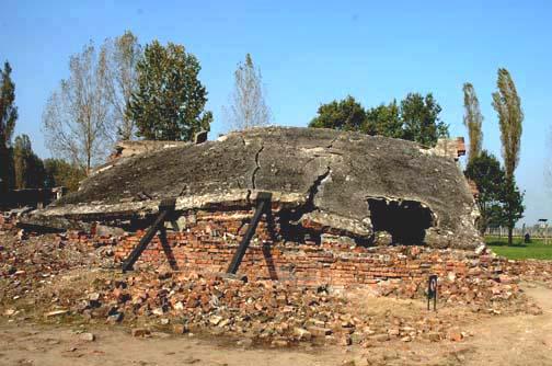 The ruins of the Krema II gas chamber at Auschwitz-Birkenau