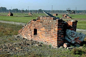 A brick stove that heated a barracks building that is gone now