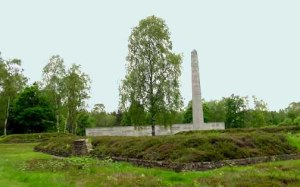 My photo of the obelisk at Bergen-Belsen, taken in the rain in 2001