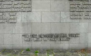 Inscription at base of obelisk honors British victims at Bergen-Belsen