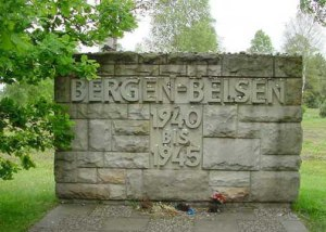 My 2001 photo of the entrance stone at Bergen-Belsen