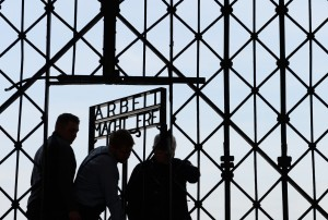 The gate into the Dachau camp has been replaced after it was stolen Photo Credit: Getty Images