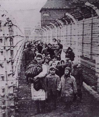 This photo of the children marching out of Birkenau is on the Wikipedia page about the liberation