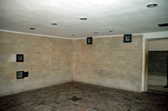 Gas chamber in the shower room at  Dachau