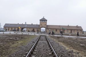 Photo of Auschwiz-Birkenau accompanies news article