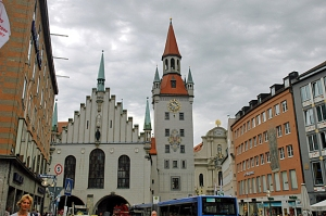 Historic buildings in Munich -- with storm clouds gathering