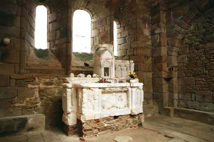 Altar in the ruins of the Oradour-sur-Glane church