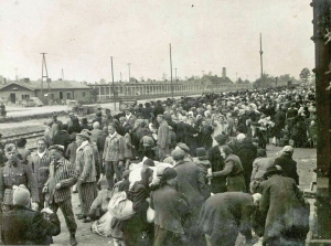 Hungarian Jews arriving at Auschwitz-Birkenau in 1944