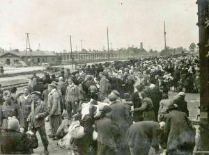 Hungarian Jews arriving at Auschwitz-Birkenau in 1944