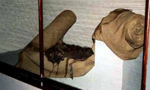 Cloth made from human hair is displayed in Auschwitz Museum