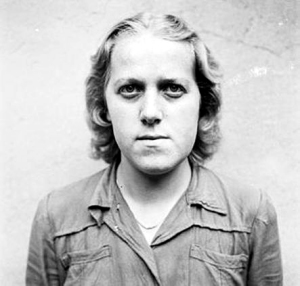 Former German guard at Bergen-Belsen after she was forced to carry bodies to graves at Bergen-Belsen