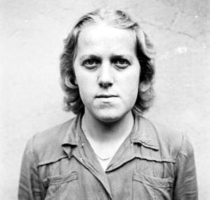 Former German guard at Bergen-Belsen after she was forced to carry bodies to graves at Bergen-Belsen