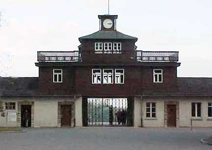 The Buchenwald gate house with the clock stopped at 3:15 p.m.