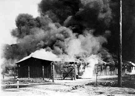 The barracks at Bergen-Belsen were burned down by the British to stop the epidemic of typhus