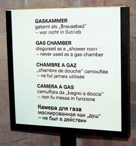 Sign in Dachau gas chamber has been removed and the gas chamber is now claimed to have been real