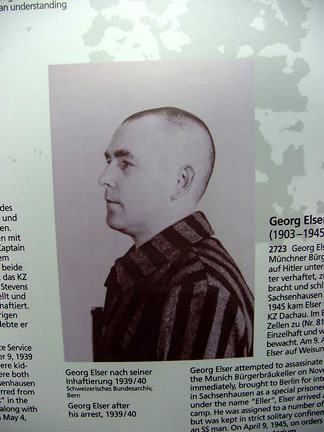 Display in the Dachau Museum shows a photo of Georg Elser