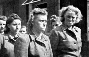 Herte Bothe is the woman on the far right; this photo was taken after she was arrested by the British
