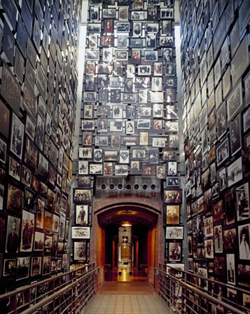 Photo wall at the US Holocaust Memorial Museum in Washington, DC is 3 stories high
