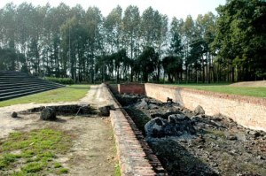 Ruins of undressing room in Krema III at Birkenau