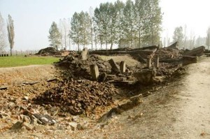 Ruins of a gas chamber at Auschwtiz-Birkenau (click on the photo to enlarge)