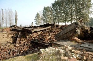 Another view of the ruins of the gas chamber in Krema III at Auschwitz-Birkenau