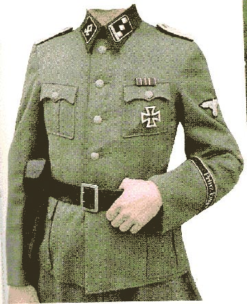 A dark green tunic, like the one that Dr. Mengele wore