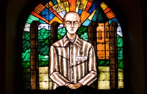 Father Maksymilian Kolbe who did in a starvation cell at Auschwitz