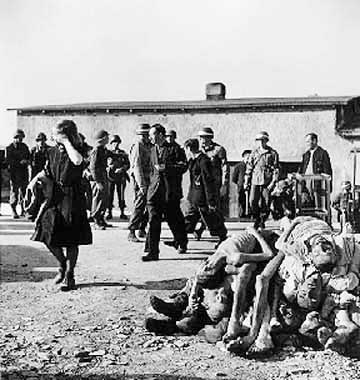 German civilians were forced to look at dead bodies of prisoners who had died of typhus
