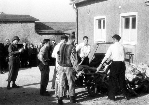 German citizens were forced by the American liberators to look at the bodies of typhus victims at Buchenwald