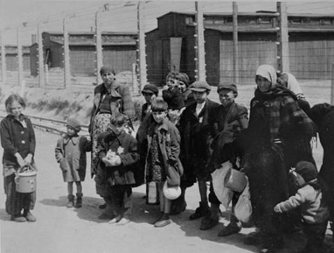 Hungarian Jewish children walking to the gas chamber at Birkenau