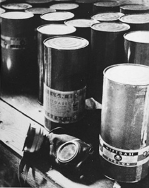 Unopened cans of Zyklon-B and a gas mask were found at Majdanke