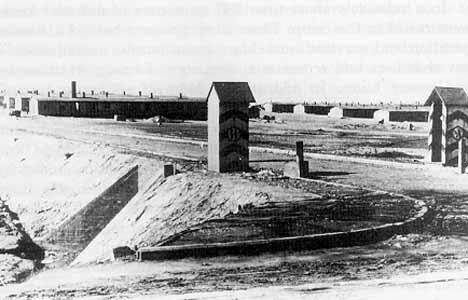 Old photo shows the gate into the Majdanek camp in Poland