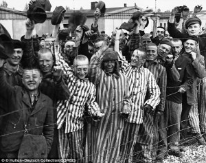 Dachau prisoners on the day that they were liberated by American soldiers