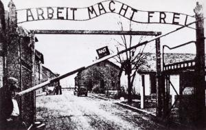 Gate into the main camp at Aushwitz